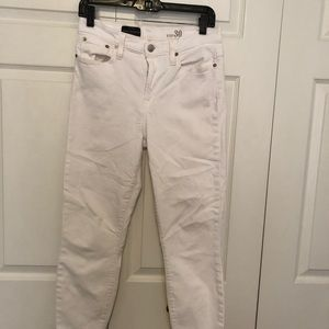 White J.Crew Lookout High Rise Cropped Jeans, 30